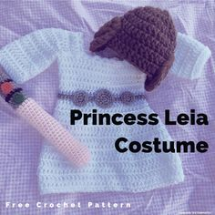 The first part of a 3-6 month size Princess Leia Star Wars Costume crochet pattern for *FREE*. The dress.