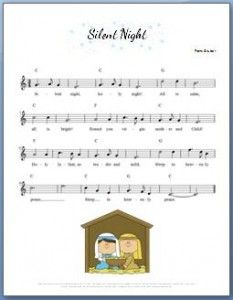 Silent Night Piano Sheet Music. Comes with a great video tutorial that shows a special technique. It's easy enough for kids and sounds beautiful!