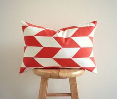 Coral Red and White Arrow Patchwork Pillow by GeometricElectric, $60.00 | This coral red and white arrow patchwork pillow cover is a original GeometricElectric design, for more information follow this link..