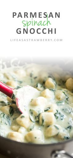 Parmesan Spinach Gnocchi | This easy parmesan spinach sauce is the perfect cheesy accompaniment to soft, pillowy gnocchi. A great, quick recipe for easy weeknight meals!