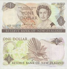 Old New Zealand One Dollar Note front & back replaced by $1 gold coin