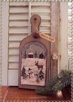 Winters Night Primitive Original Christmas Deer Snowman Punch Needle Hornbook | eBay 2-oldekrows