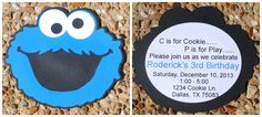 Set of 10 - Cookie Monster Invitations, Cookie Monster Party, Cookie Monster, Sesame Street by HelloFaith on Etsy https://www.etsy.com/listing/111052442/set-of-10-cookie-monster-invitations