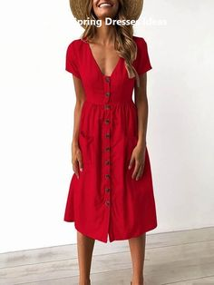 6 Colors V-neck Button Pocket Patched Short Sleeves Midi Dress Pattern Solid Color Occasion Casual/D Simple Summer Outfits, Casual Summer Dresses, Trendy Dresses, Nice Dresses, Red Dress Casual, Beach Dresses, Dress Summer, Summer Ootd, Flower Dresses