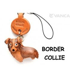 Border Collie Leather Cellularphone Charm