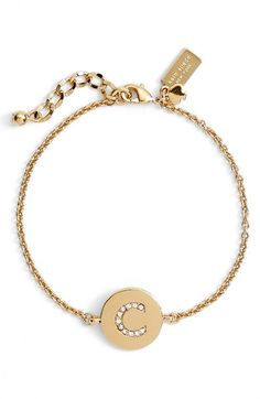 kate spade new york 'north court' pavé initial charm bracelet | Nordstrom