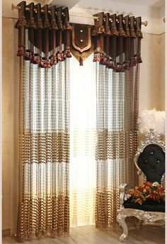 Luxury and Gorgeous villa relievo embroidery sheer curtain blinds drapes for living room  in coffee and beige color $97.00