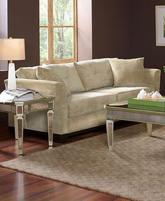 neutrals with dark brown walls -- Elliot Fabric Sofa Living Room Furniture Collection - Living Room Furniture - furniture - Macy's Modern Furniture Sets, Mirrored Furniture, Sofa Furniture, Living Room Sofa, Apartment Living, Living Room Furniture, Living Rooms, Dark Brown Walls, Velvet Sofa