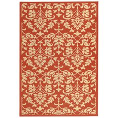 $36.14 Indoor/ Outdoor Seaview Red/ Natural Rug (4' x 5'7) | Overstock.com Shopping - Great Deals on Safavieh 3x5 - 4x6 Rugs