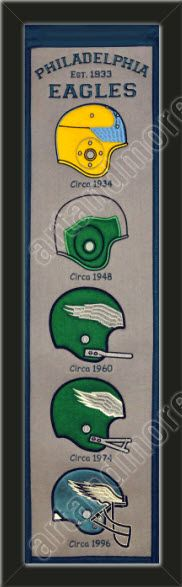 This Philadelphia Eagles heritage banner framed to 8 x 32 inches.  $89.99 @ ArtandMore.com