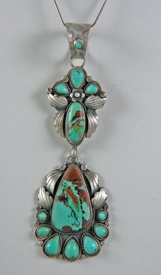 Martha Willeto Pendant with sterling silver and specimens of Royston turquoise