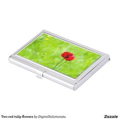 Two red tulip flowers business card holder