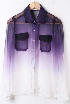 Purple White Gradient Pockets Long Sleeve Sheer Blouse easy DIY