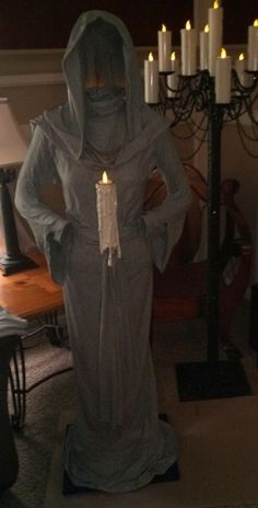 2015 Halloween ghost decor with floating candle - woman, cloaked - ghost: Most creepy & creative Halloween ghost decoration ideas that you will like 2015 By - LoveItSoMuch Halloween Prop, Halloween Ghost Decorations, Hallowen Ideas, Halloween 2016, Outdoor Halloween, Holidays Halloween, Halloween Crafts, Halloween Cosplay, Hollween Decorations