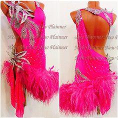 Ostrich feather Ballroom latin swing rumba samba chacha dance dress us 8 Latin Ballroom Dresses, Latin Dresses, Ballroom Dancing, Dance Outfits, Dance Costumes, Dance Wear, Designer Dresses, Burlesque, Showgirls