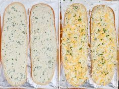 Turn plain french bread into cheesy, garlicky perfection with this epic Cheesy Garlic Bread with three kinds of cheese, herbs and tons of garlic. Homemade Garlic Bread, Cheesy Garlic Bread, Stuffed Shells With Meat, Stuffed Chicken, Hawaiian Bread Rolls, Artisan Bread Recipes, Snack Recipes, Sandwich Recipes, Easy Recipes