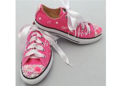 Pink Converse / Customised converse / Bling toe and by CindersWish