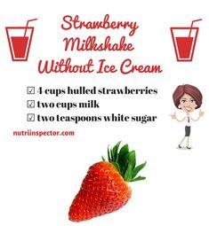 Strawberry Milkshake without Ice Cream #strawberry #milkshake via @nutriinspector