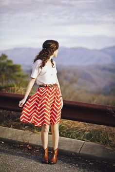 red and white chevron skirt with a white tee