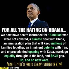 and don't forget the rebounding economy and housing markets! I am VERY proud to have voted for Barack Obama!!