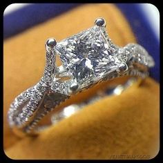 1.5 carat princess cut with a diamond incrusted infinity band. Verragio engagement rings, Venetian 5003.