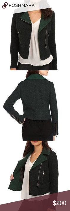 NWOT Tweed Moto Jacket Blazer Heather green tweed. Zip sleeves. Brand new. French Connection Jackets & Coats Blazers
