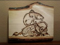 Saltwater fish. Texas trio. Grandslam. Speckled trout and redfish and flounder.  Pyrography aka woodburning. By Brandy Mottesheard