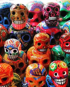 Traveller @laura__riding found these colourful souvenirs in Mexicos Playa del Carmen. Mexican culture places a high emphasis on respect for family and friends who have passed on an ancient tradition which has its roots in the regions pre-Colombian civi