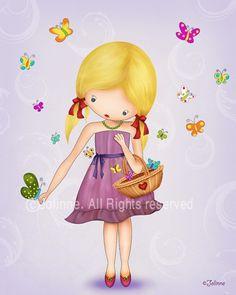 Pink wall art print girl and butterflies children wall by jolinne, $16.00