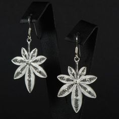 Cannabis silver earrings