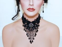 Items similar to Black Lace Necklace, Victorian Black Wedding Jewelry, Elegant Bridal Necklace, Black Beaded Choker on Etsy Black Choker Necklace, Beaded Choker, Beaded Lace, Victorian Jewelry, Gothic Jewelry, Victorian Era, Delicate Lingerie, Lace Jewelry, Enamel Jewelry