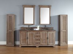 "72"" Providence Double Sink Bathroom Vanity with Driftwood Grey Finish."