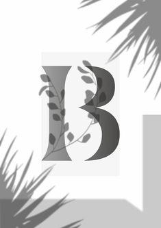 Monogram Poster Leaf Initial Print Personalised Letter | Etsy Typography Prints, Lettering, Letter Wall Art, Digital Image, Digital Prints, Initials, Monogram, Black And White, Art Prints