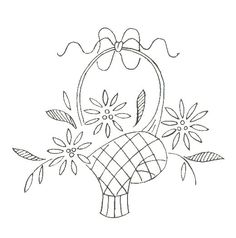 embroidery: basket of flowers