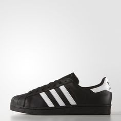 This sophisticated men's sneaker dresses an iconic '70s basketball style in stealth triple-black leather. With an adidas Superstar shell toe and herringbone-pattern outsole, the shoe features a coated leather upper and a breathable mesh lining.