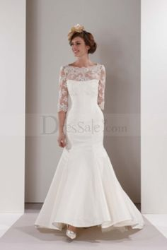 Mermaid Wedding Dresses with Lace Illusion Neckline and 3/4 Sleeves