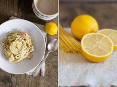 Spaghetti mit Zitronensauce und Scampi