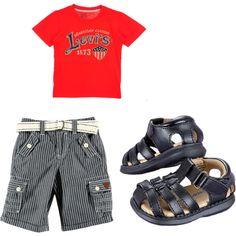 #CookiesKids Red Levi's Tshirt with striped denim shorts. Boys fashion.