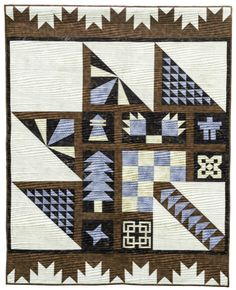 Brown, blue and cream Purely Canadian Quilt - A Story Time Monday Post