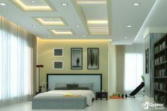 This graceful #falseceiling will definitely change the entire look of your bedroom. Visit www.gyproc.in
