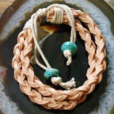 Braided Leather Bracelet with Jasper Gemstone Ties by Angelof2, $18.00