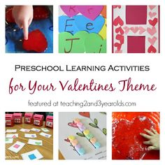 A collection of preschool learning activities for your valentines theme.