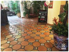 Saltillo and Talavera tiles are great even in commercial spaces like Pancho's Restaurant in Las Vegas. This is the 12x12 Octagon pattern with colorful talavera tile accents. Get more like this from Rustico Tile and Stone where we offer wholesale prices and worldwide shipping. #rusticotile #lasvegas #vegas  #panchos #summerlin #octagon #pattern #patternedtile #mexicantile #rustic #restaurant
