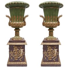 Early C20th Carved Wood Urns on Pedestals   From a unique collection of antique and modern urns at https://www.1stdibs.com/furniture/building-garden/urns/
