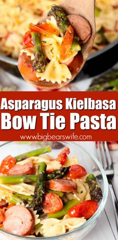Asparagus Kielbasa Bow Tie Pasta – This Asparagus Kielbasa Bow Tie Pasta is a fr… Asparagus Kielbasa Bow Tie Pasta – This Asparagus Kielbasa Bow Tie Pasta is a fresh and easy Summer lunch or dinner recipe that everyone will love! Kielbasa Pasta Recipes, Pasta Dinner Recipes, Healthy Pasta Recipes, Delicious Dinner Recipes, Pasta Meals, Pasta Food, Easy Recipes, Yummy Food, Kelbasa Recipes