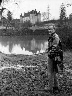 Painter Balthus Standing Outside Chateau de Chassy, Studio in Morvan, 200 Miles Southwest of Paris