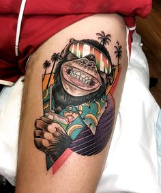 The party in tattoos by Leisure Bandit Tattoo artist Leisure Brodie Bandit bright authors new school tattoo in style Retro Tattoos, Dope Tattoos, Leg Tattoos, Body Art Tattoos, Tattoos For Guys, Sleeve Tattoos, Tattoos For Women, Tattoo Women, Neotraditionelles Tattoo