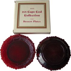 Vintage Avon Cape Cod Dessert Plates This is a boxed pair off ruby red dessert plates that measure inches high and 7 inches in diameter. Dessert Plates, Vintage Avon, Christmas In July, Ruby Lane, Cape Cod, Artisan Jewelry, Holiday Gifts, Kids Toys, Unique Gifts