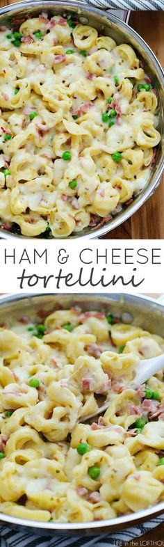 Ham-and-Cheese-Tortellini-PIN Loaded with ham, peas and cheese-filled tortellini- it is a sure winner for lunch or dinner! Ham-and-Cheese-Tortellini-PIN Loaded with ham, peas and cheese-filled tortellini- it is a sure winner for lunch or dinner! Pork Recipes, Pasta Recipes, Dinner Recipes, Healthy Recipes, Recipes With Ham, Recipies, Dinner Ideas, Family Recipes, Recipes With Leftover Ham