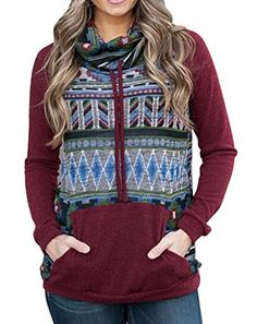 Oberora-Women Oberora Womens Turtleneck Print Long Sleeve Pullover Hoodie Sweater